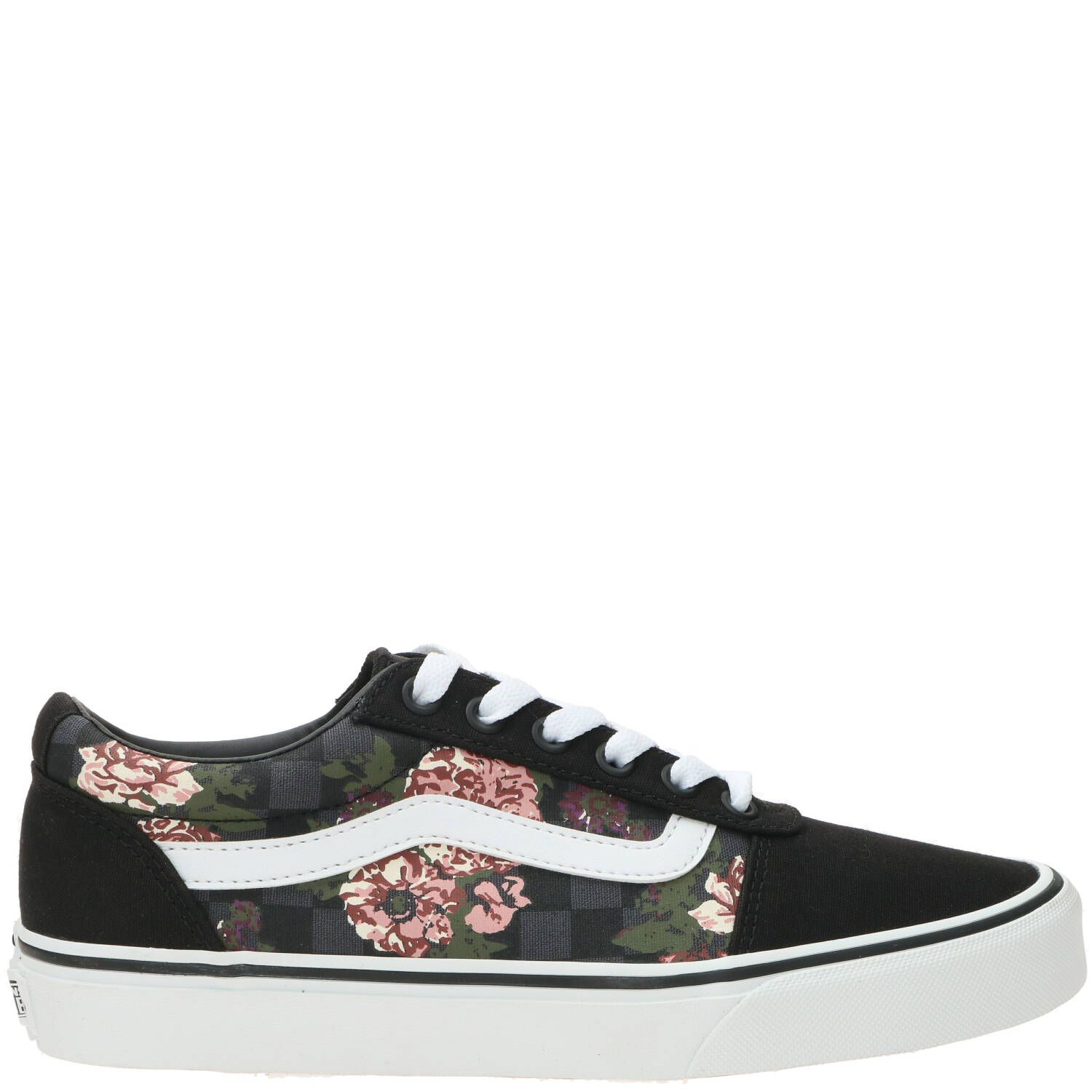 Vans Ward Flower Check Sneaker Dames Zwart