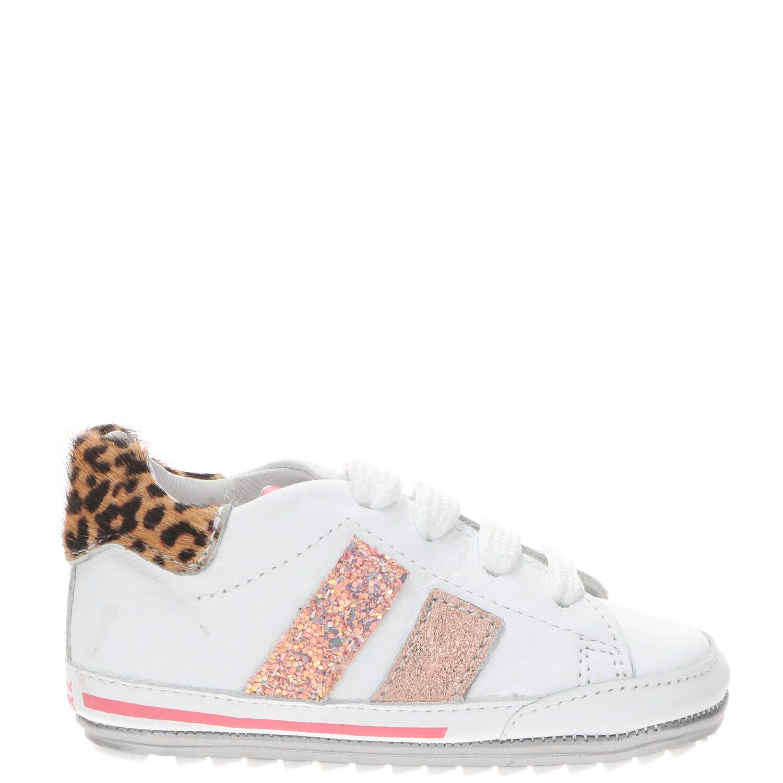 Shoesme BP21S024-B leren babyschoenen met panterprint wit online kopen