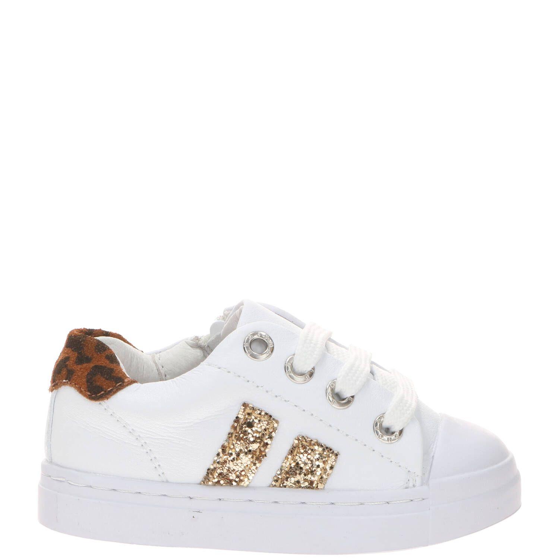 Shoesme SH21S021-A leren sneakers met glitters wit/goud online kopen
